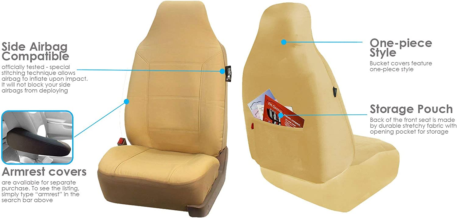 FH Group FH-PU103102 High Back Royal PU Leather Car Seat Covers Airbag /& Split Black