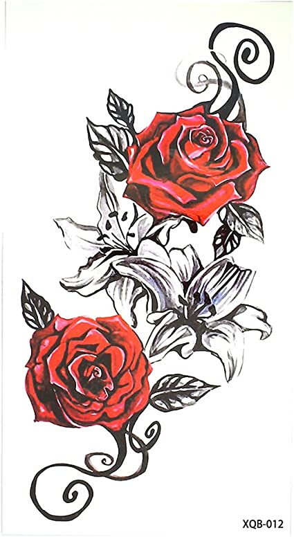 Rosas Flores Tattoo Rojo y Negro Flash Tattoo Fake Tattoo xq012 ...