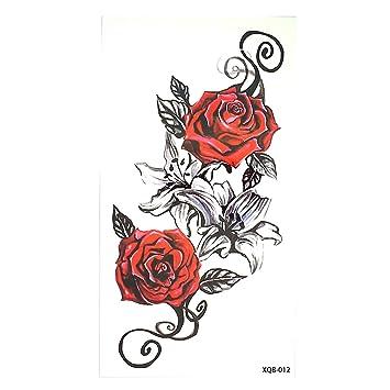 Roses Fleurs Rouge Et Noir Flash Tatouage Tattoo Faux Tatouage Xq012