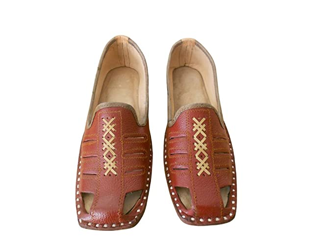 kalra Creations Hombre tradicional indio étnico–Zapatos de piel, color Rojo, talla 42.5 EU