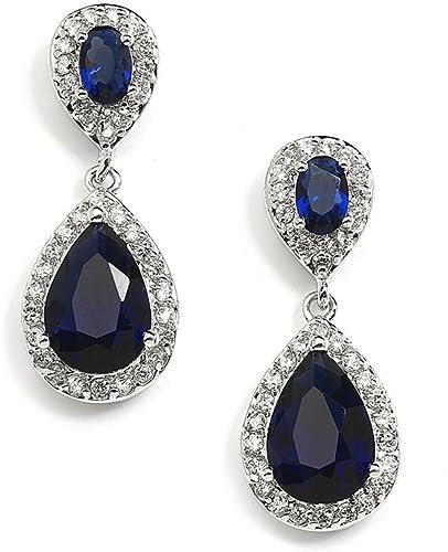 Genuine Sapphire Earrings Sterling Silver September Birthstone Jewelry Sapphire Jewerly Gift for women KE713 Blue Drop Earrings