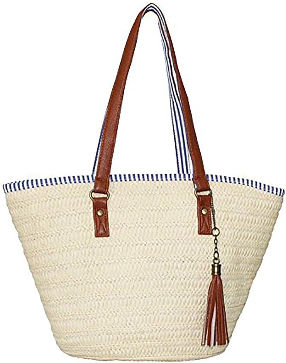 Bolsa de Playa de Paja, JOSEKO Bolsos de Verano Bolsa de Hombro Totalizador con Asas de Cuero borlas Bolso de Mujer Adecuado para Viajes de Vacaciones Compras Playas y Uso Diario