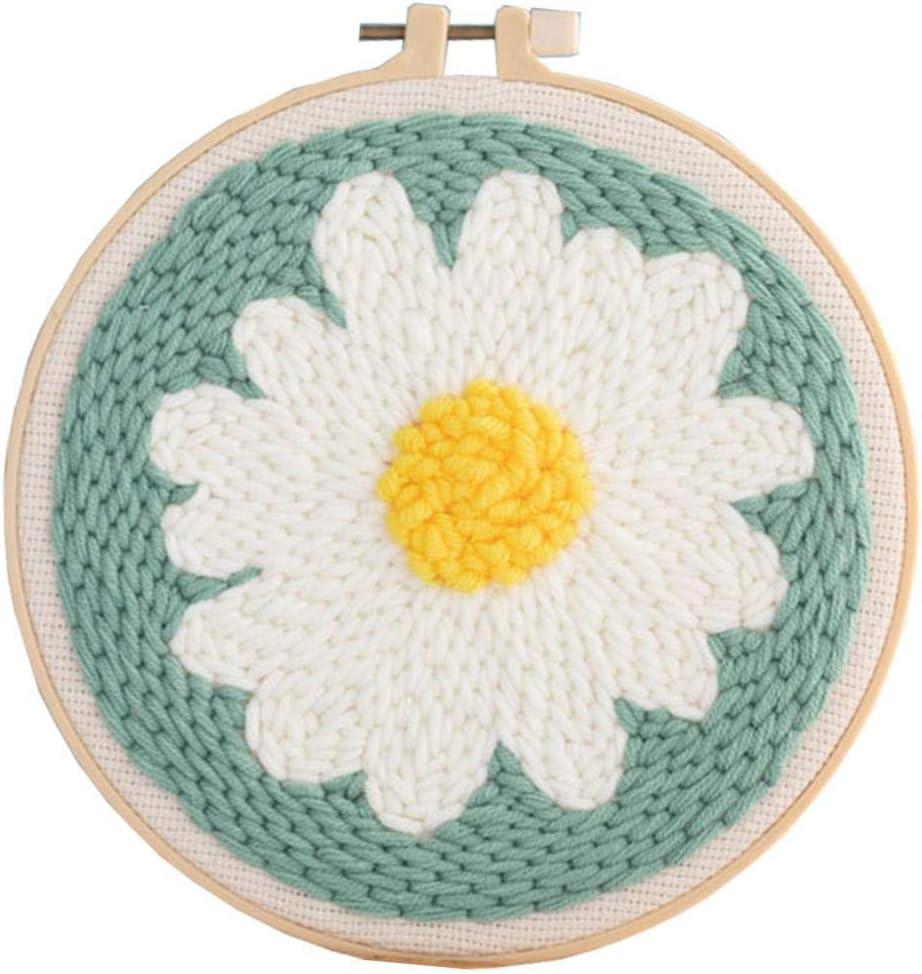 VOCHIC Punch Needle Embroidery Starter Kits for Beginner Rug Punch Needle Tool Threader Fabric Yarn Scissor (Daisy Windmill)