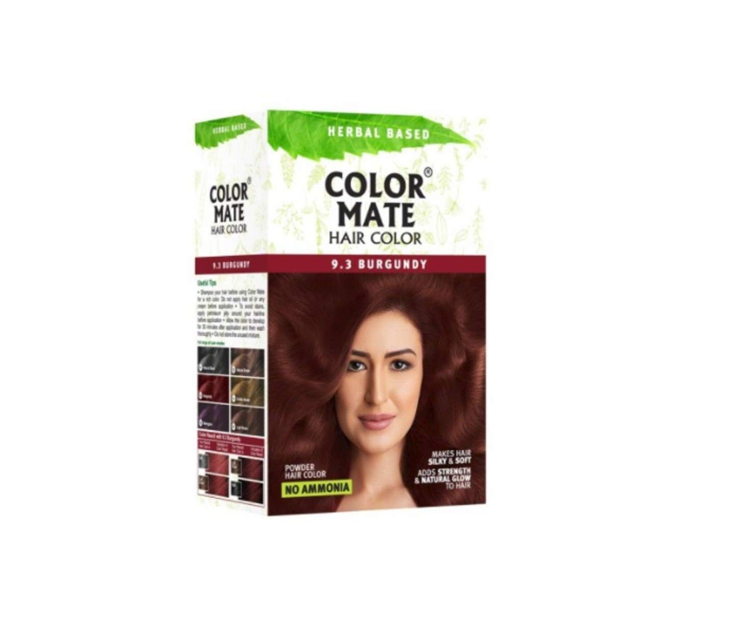 Color Mate Herbal Based Ammonia Free Hair Color with Ayur Product in Combo (9.3-Burgundy)