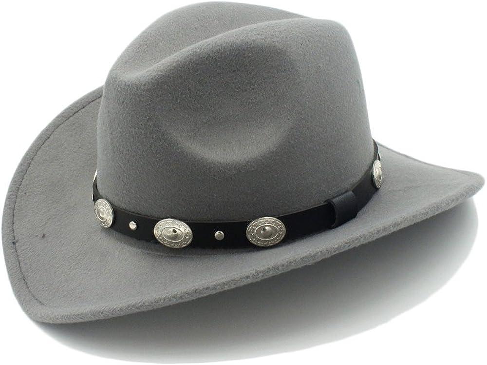 CNBEAU Fashion Wool Women Mens Western Cowboy Hat for Gentleman Cowgirl Jazz Church Cap with Leather Cloche Sombrero Cap