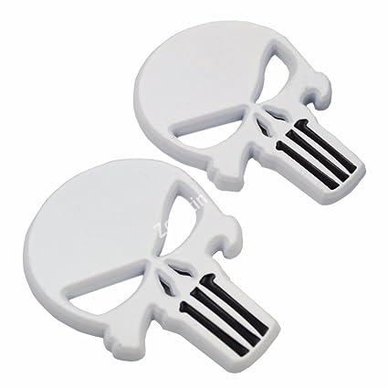 Amazoncom White 3d Metal Skull Punisher Emblem Badge Wadhesive