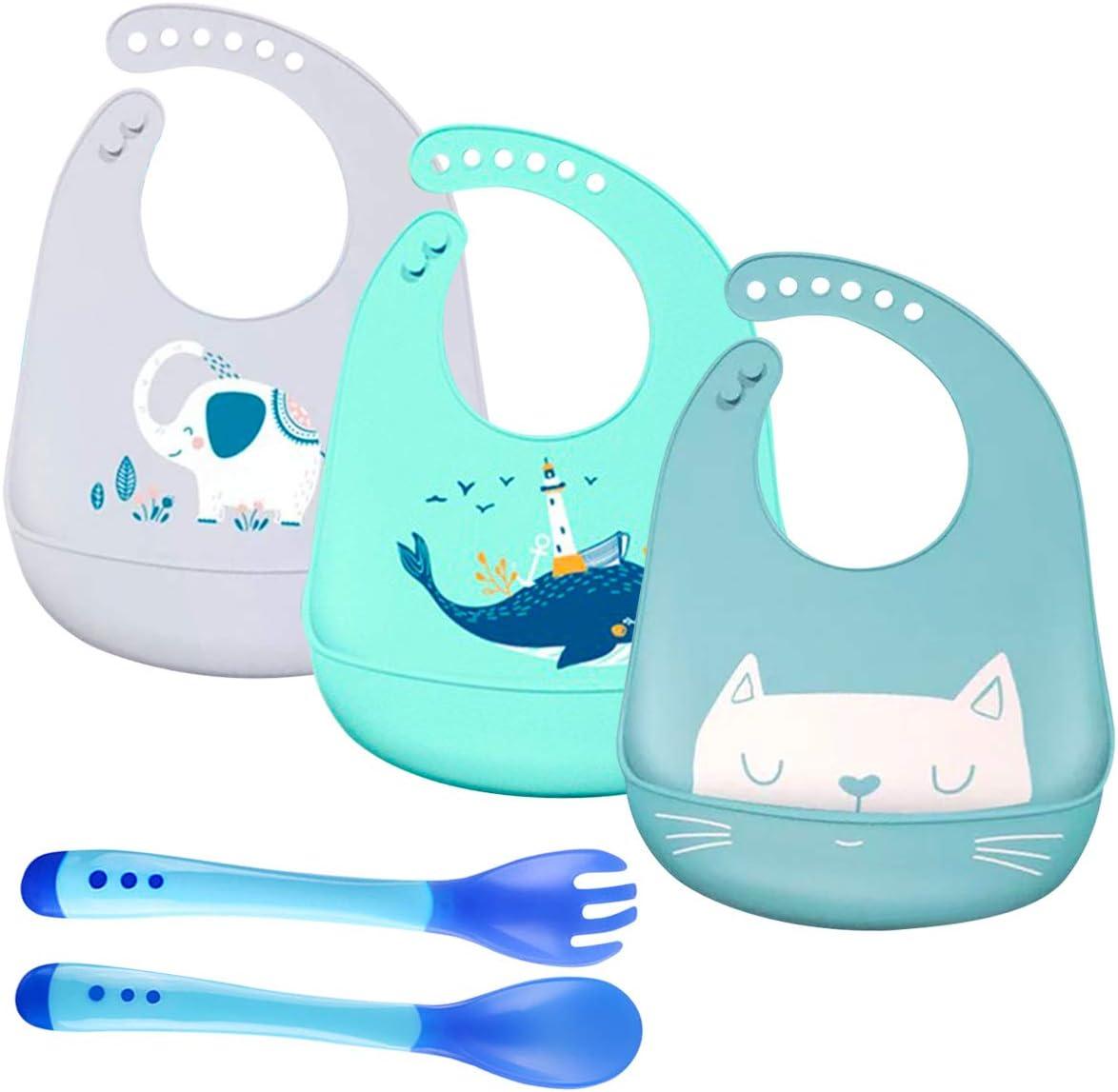 3 Piezas Baberos para Bebés Impermeables Baberos de Silicona para Recolector Migas de Alimentos