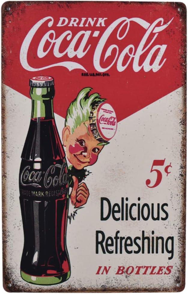 EffortLife Drink Coca Cola Delicious Refreshing in Bottles Retro Vintage Bar Signs Tin Sign Vintage 12 X 8 Inch