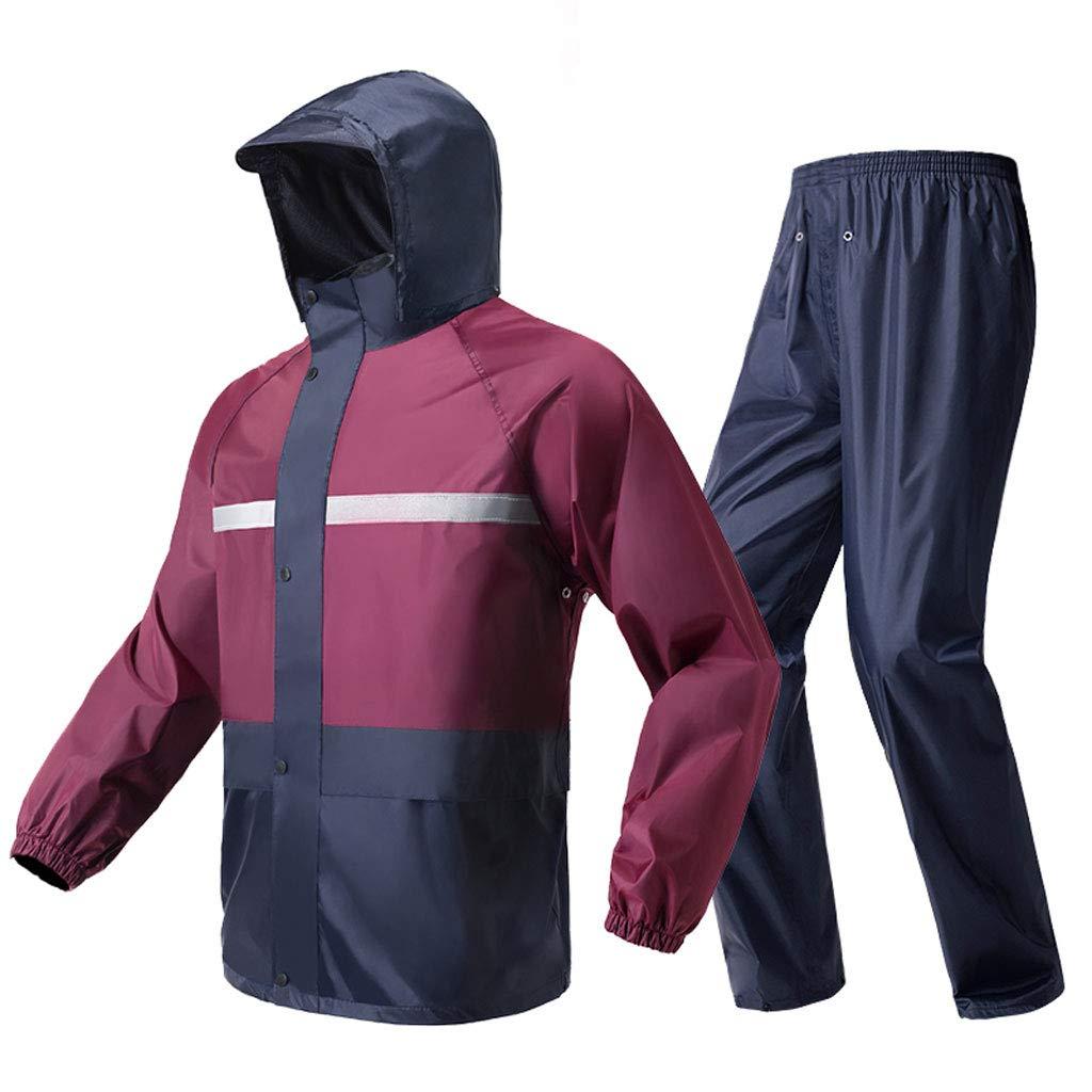 Hongyan Regenanzug für Männer und Frauen Erwachsene wasserdicht regendicht Winddicht mit Kapuze Outdoor-Arbeit Motorrad Golf Angeln Wandern