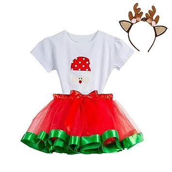 6c68a93f10a Amazon.com   Baby Girls Christmas Skirt Set Little Girl Short Sleeve Santa  Romper Tutu Skirts Headband Outfits Set (age  4-6 Years