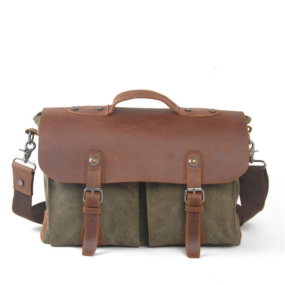Simple Retro Zip Canvas Briefcase Shoulder Bag Messenger Bag Color: Army Green Shoulder Bag Large Capacity Leather Computer Bag