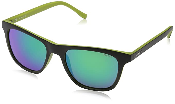 Police Hot 1, Gafas de Sol Unisex, Semi Matt Black Frame/Green Mirror
