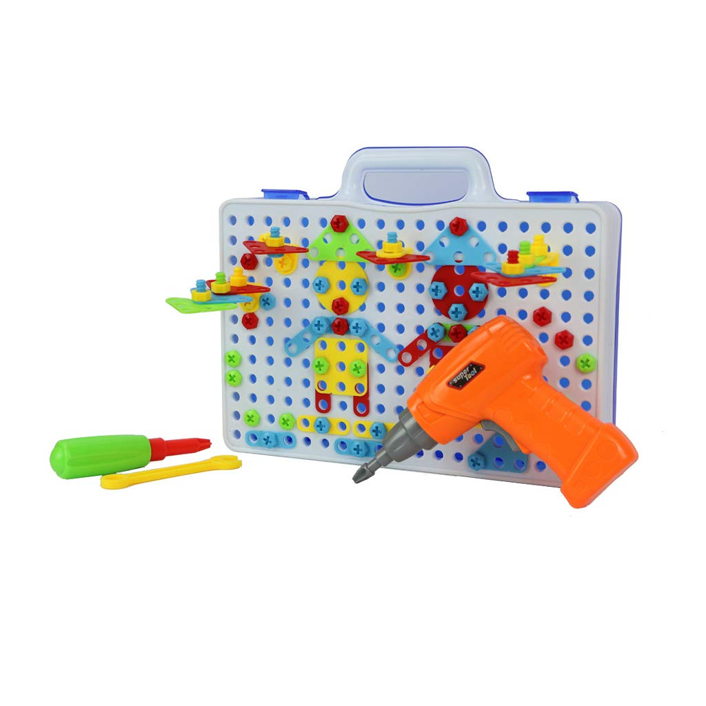 Homefami DIY Screwdriver Toys for Kids Tool Playset Puzzle Building Blocks Set Educational Early Learning Assembled Disassembly Toys for Boys Girls