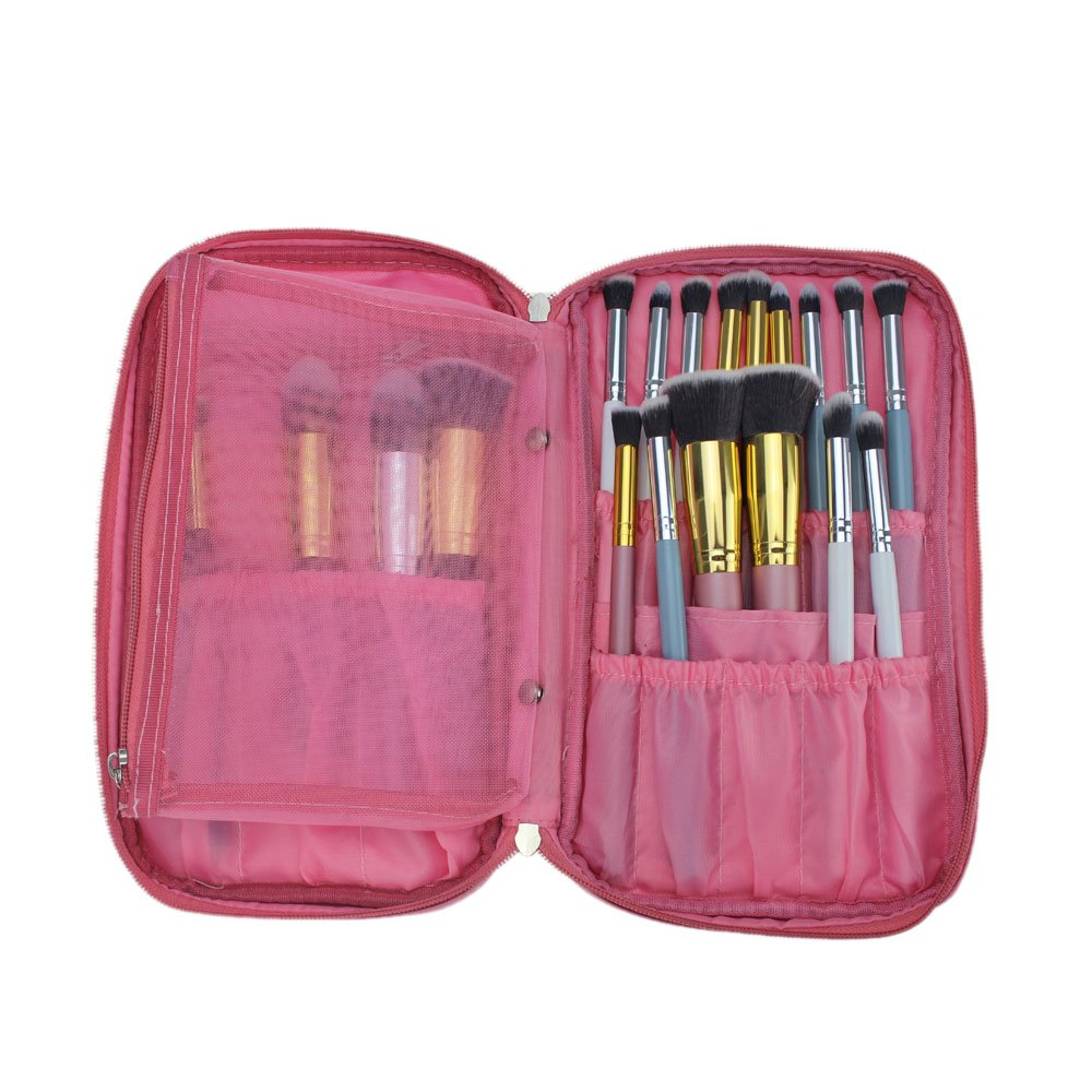Hotrose Timed Promotion Multifunctional Makeup Brush Zipper Cosmetic Case for Travel & Home Use(pink)
