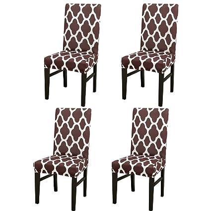 Jian Ya Na - Fundas Protectoras para sillas de Comedor elásticas extraíbles y Lavables, Coffee