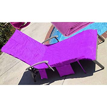 Sun Lounger Mate Beach Towel Carry With Pockets Bag For Holiday Garden Lounge US