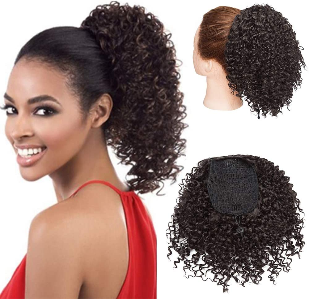 Curly Hair Bun Hair Piece Drawstring Kinky Curly Ponytail African Hair 8 Inch Short Wrap Synthetic Ponytail Extensions Medium Brown Amazon Co Uk Beauty