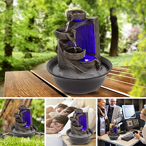 SereneLife 4-Tier Desktop Electric Water Fountain Decor w/ LED - Indoor Outdoor Portable Tabletop Decorative Zen Meditation Waterfall Kit Includes Submersible Pump & 12V Power Adapter by SereneLife (Image #5)
