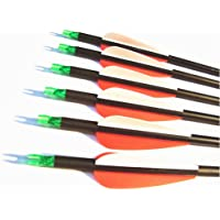 12pk 600 Spine Carbon Arrows Archery Hunting Targeting Arrow With 100 Grain Field Tips For Compound Bow Recurve And LongBow
