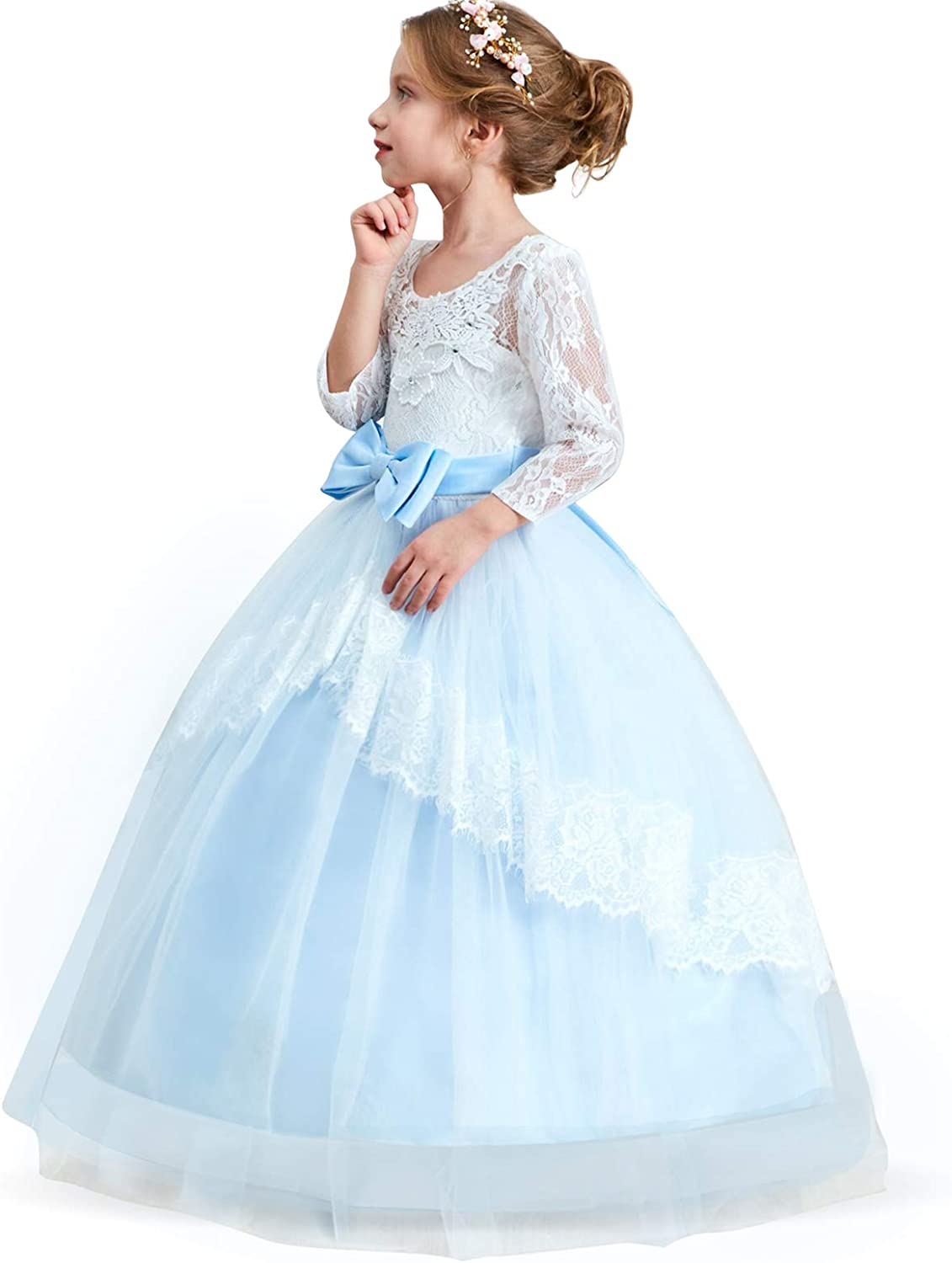 B07DQNSQ4R TTYAOVO Girls Embroidery Princess Dress Wedding Birthday Party Long Tail Prom Gowns 616Z0Q6KgnL