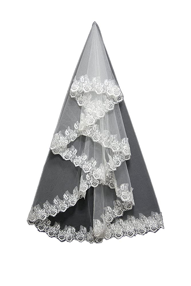 Oncefirst 1 Tier Wedding Veil with Lace Hem and Comb