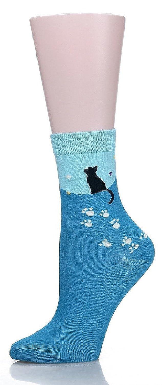 Calcetines SoxEra de algod/ón para mujer con dise/ños de gatos c/ómodos Pack de/5/unidades