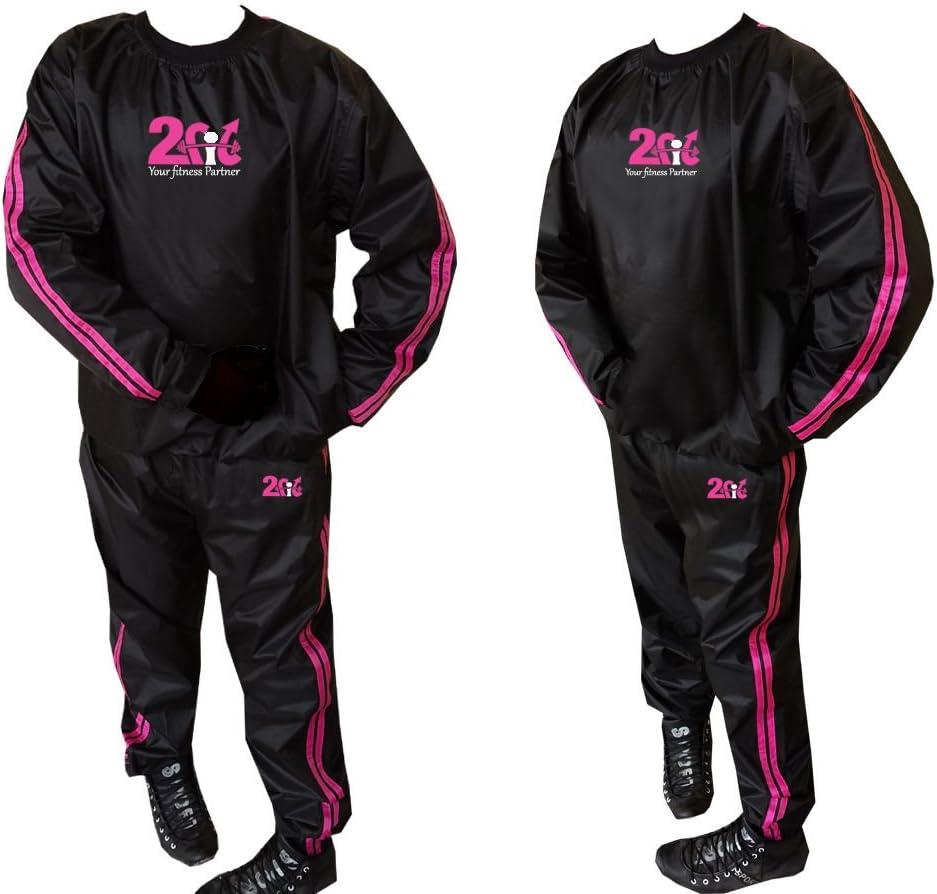 resistente ideale per palestra Tuta sauna dimagrante 2Fit fitness antistrappo jogging di colore rosa