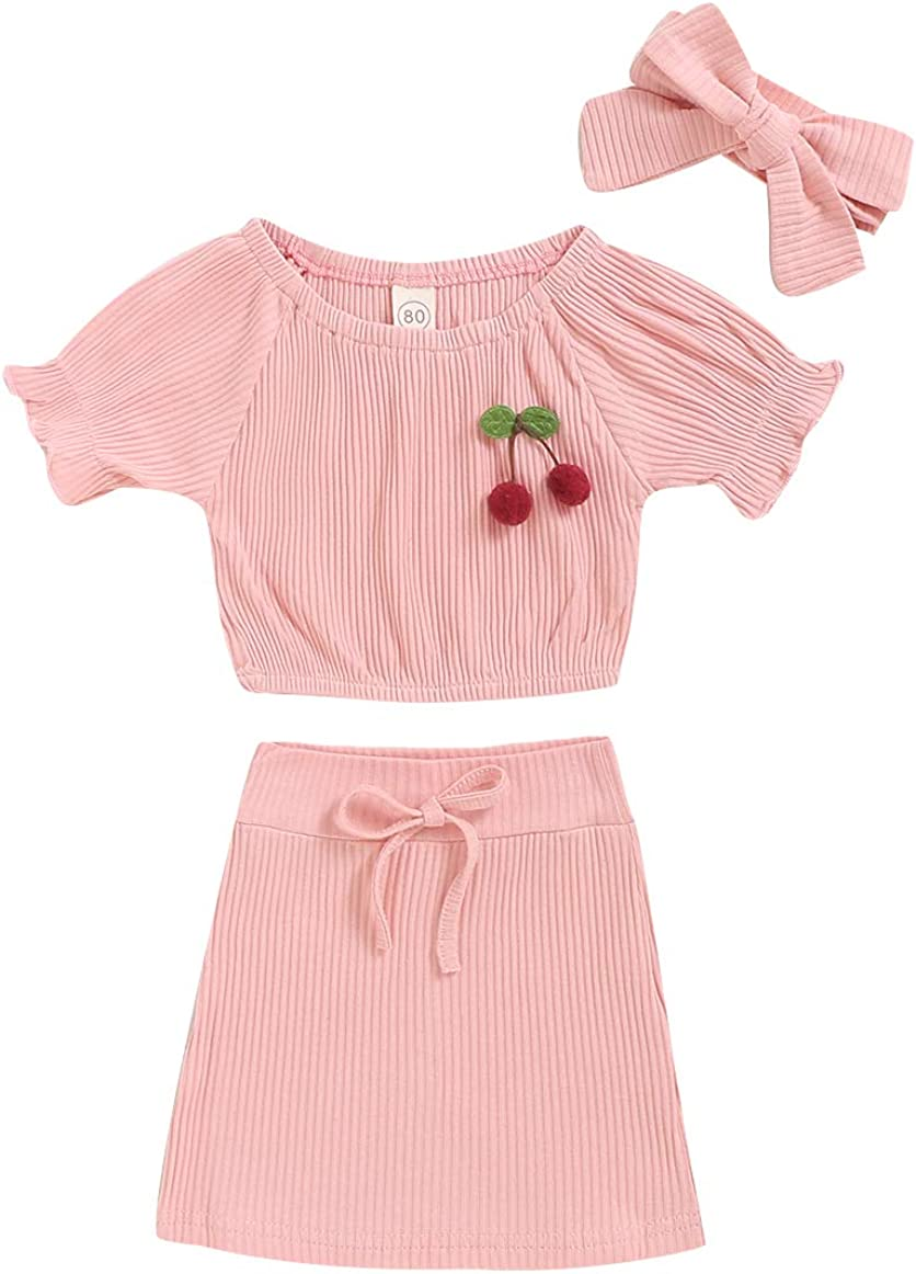 BOBORA 2 PCS Baby Girl Cotton Short Sleeve Top with Cherry Printed Skirt Suit