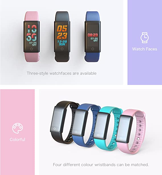 Amazon.com : ZX Fitness Tracker Smart Bracelet Heart Rate Monitor Activity Tracker Calorie Counter Compatible iOS/Android, Black : Sports & Outdoors
