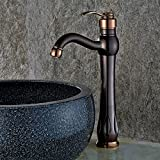 Jiuzhuo Classic Single Handle One Hole Oil Rubbed Bronze & Rose Gold Bathroom Vessel Sink Faucet