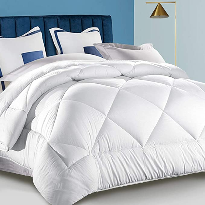 White Hotel Collection Luxury Down Alternative Quilted Comforter - All Season -Plush Microfiber Fill - Machine Washable (White-N, Queen)