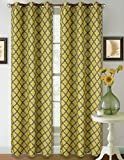 1 Set Yellow Grey 95'' Geometric Lined Blackout Grommet Window Drape Curtain