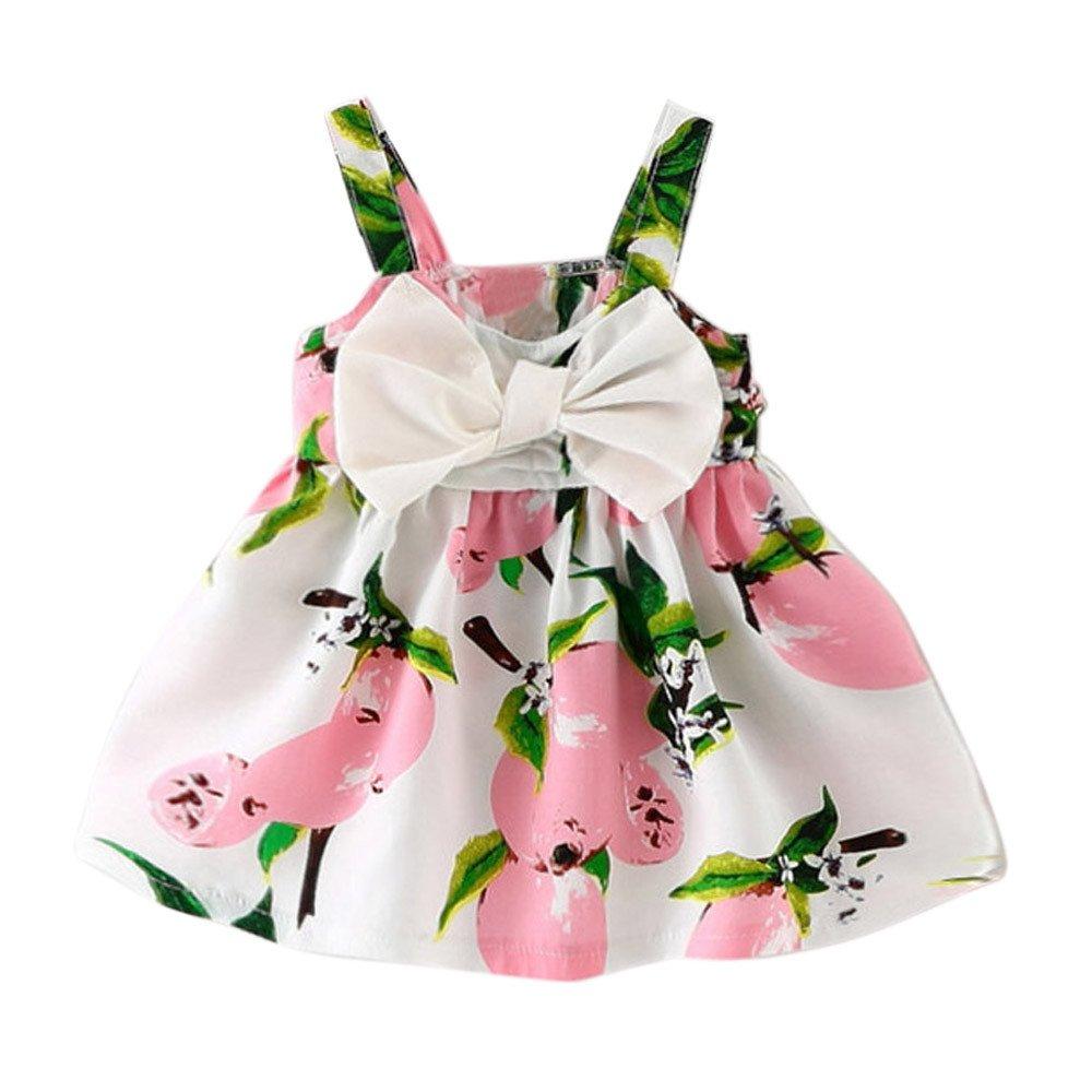 Newborn Cute Flower Print Strap Bow Princess Dresses Summer Sleeveless Party Clothes Fatchot Baby Girls Dress