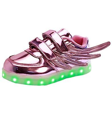 Unisex Child Boy Girl Wings USB Charging LED Light Up Shoes Lumious Flashing Sneakerss Purple
