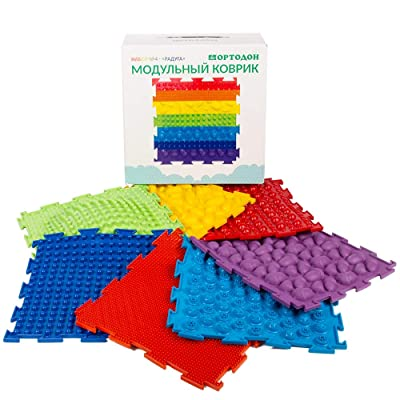 Rainbow Set of Massage Game Mats for Kids - Orthopedic Massage Puzzle Floor mats - Carpet: Toys & Games