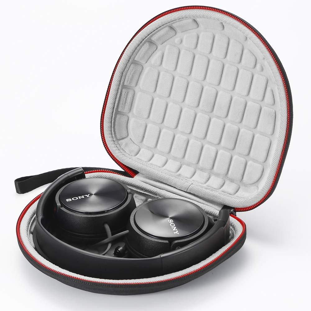 Forro Negro Estuche r/ígido de Viaje para Sony MDRZX110NC // ZX300 // ZX310 // MDRZX110 ZX Series Est/éreo // MDRZX110AP Auriculares Extra Bajos Negro Bolsa de Almacenamiento Protectora