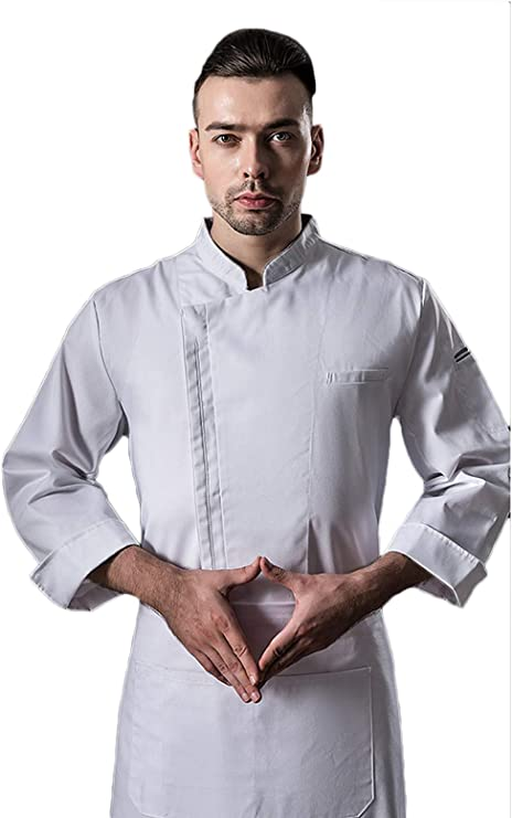WYCDA Casaca Cocina Uniforme Bar Restaurante de Chef Cocinero Bar Restaurante Mangas Largas Colores múltiples Camisa de Manga Larga del Chef,Blanco,L: Amazon.es: Hogar