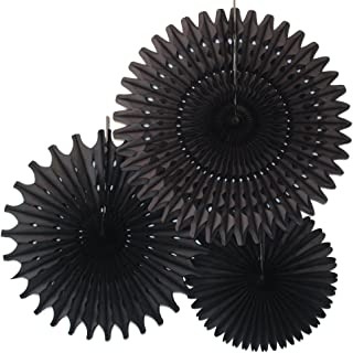 product image for Set of 3 Honeycomb Tissue Fans, Black (13-21 Inch)