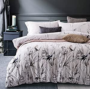 Amazon.com: Bamboo Leaf Print Bedding Minimal Botanical Duvet ... : modern quilt cover sets - Adamdwight.com