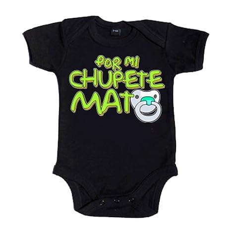 Body bebé Por mi chupete mato - Negro, 6-12 meses: Amazon.es ...