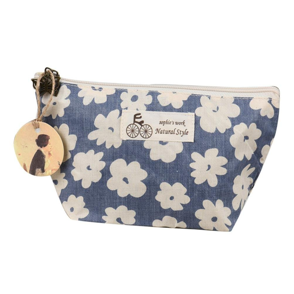 LandFox Travel Cosmetic Bag Makeup Case Pouch Toiletry Wash Organizer (Blue)
