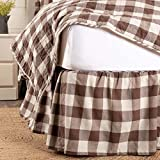 Piper Classics Dublin Buffalo Check Bed Skirt, Queen Size, 16'' Drop, Brown and Cream Gathered Dust Ruffle