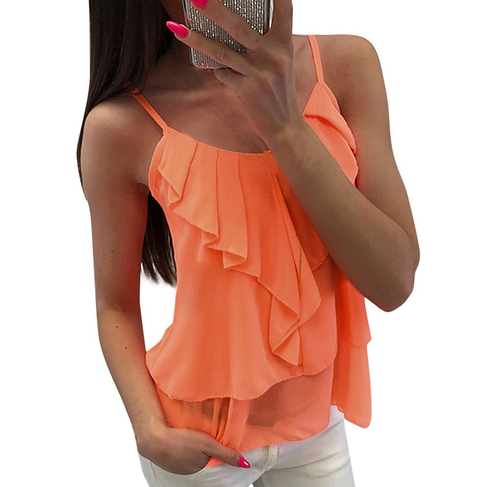 Sexy Women Tops Chiffon Fashion Casual Solid Backless Camis Chiffon Ruffles Tank Tops Vest Orange