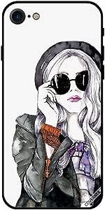 حافظة لهاتف آيفون 7 - فتاة جميلة من الزجاج الأسود
