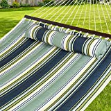Best Choice Products Hammock Quilted Fabric With Pillow Double Size Spreader Bar, Green Stripe
