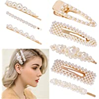 Exacoo 8pcs Pearl Hair Clips Artificial Pearl Alligator Clips Barrettes Bobby Pins Snap Clips Decorative Hair Accessories for Women