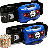 Flagship-X Insane Sale 2-Pack Waterproof CREE LED Camping Headlamp Flashlight for Running Black and Blue (Blue & Blue)