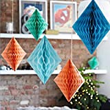 SUNBEAUTY 4 inch Pack of 30 Decorative Tissue Paper Diamond Honeycomb Balls Assorted Colors for Wedding Party Birthday Events Decor