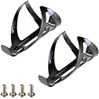 PERGEAR Black Carbon Fiber Lightweight Bicycle Water Bottle Cage for Cycling - Pack of 2