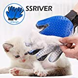 #3: Pet Grooming Glove Hair Remover Brush Gentle Deshedding Efficient Pet Mitt Pet massage gloves Left & Right Hand for Dogs Cats Horses with Long or Short Fur (Blue,1 Pair)